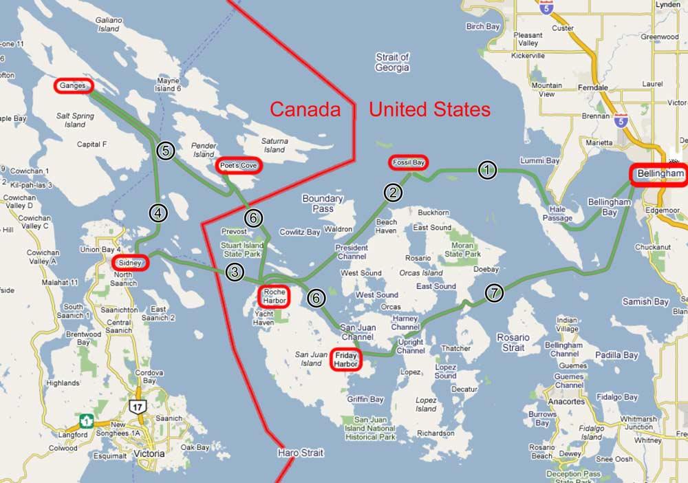 Cruise Map My San Juan Islands Cruise - Us cruise ports map
